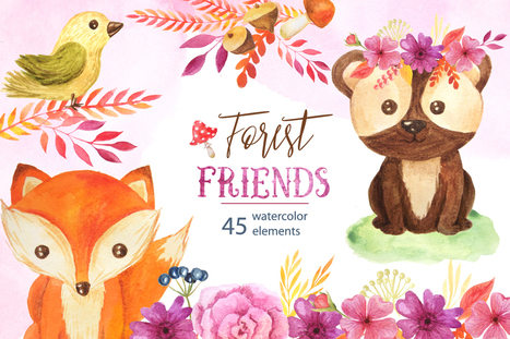 Watercolor Forest Animals Set | Free Design of the Week | Design Freebies & Deals | Scoop.it