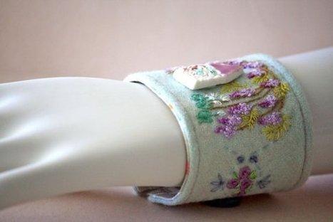 Embroidery Kit DIY Gift Pattern Tutorial Wisteria Cottage Cuff | Fiber Arts | Scoop.it