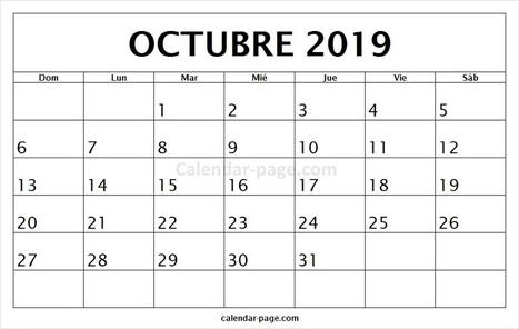 Calendario Mes De Octubre 2020 Para Imprimir.Calendario Octubre 2019 Calendario Mensual 20