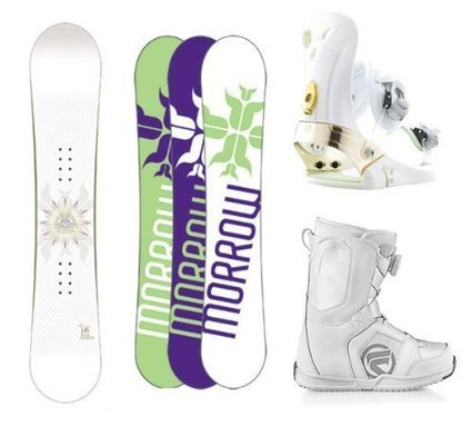 1737ae890756 Morrow Lotus Complete Women s Snowboard Package with matching Morrow Lotus  Bindings and Flow Vega BOA Women s Boots Board Size 149-Boot Size-8