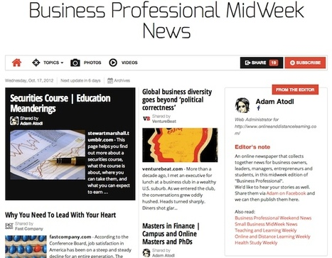 Oct 17 - Business Professional MidWeek News | Transformations in Business & Tourism | Scoop.it