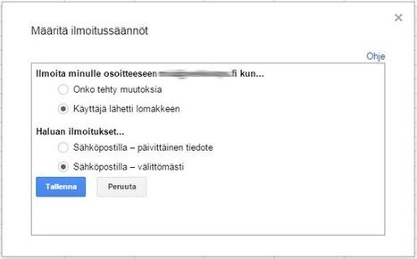 Cloudpoint blogi: Päivän Google Dokumentti vinkki: laskentataulukon ilmoitusten tilaaminen   Mielikuvituskoulu   Scoop.it