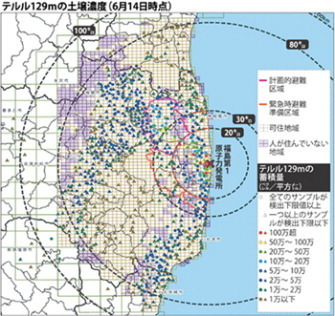 Gov't releases map of radioactive tellurium-129m contamination around nuke plant - The Mainichi Daily News | Mapping & participating: Fukushima radiation maps | Scoop.it