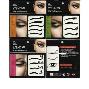 c778edcc42f 12 Pairs of Temporary Eyeliner Eye Liner Sticker Stickers Transfer Makeup  Instant Tattoo RAVE PUNK Lady Gaga x 3 Multipack by Boolavard® TM