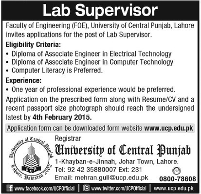 Lab Supervisor Jobs in University of Central Pu