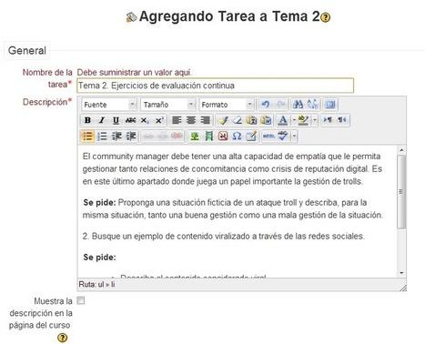 El diseño y envío de tareas en eLearning con Moodle | Educación y TIC | Scoop.it