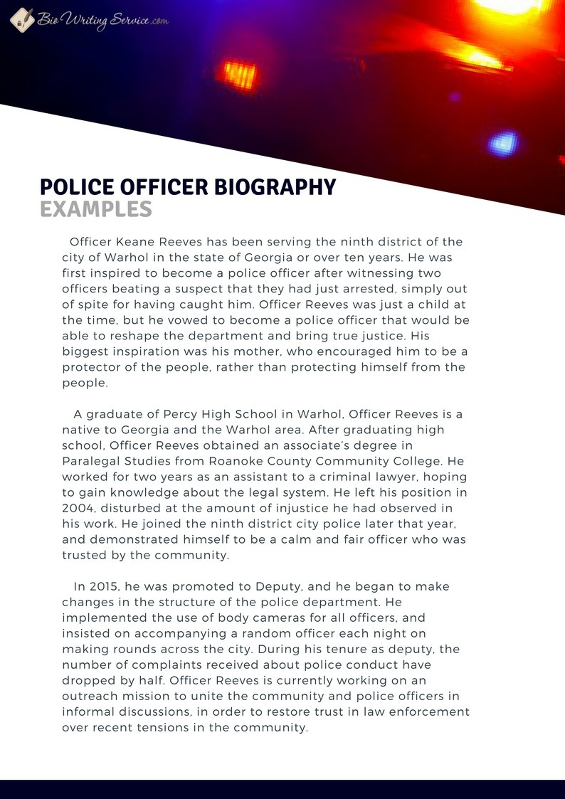 Police Officer Biography Examples | Bio Writing...