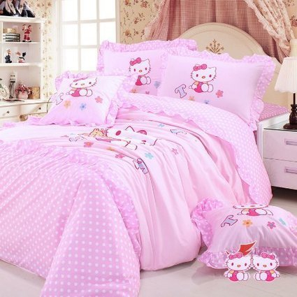 Hello Kitty Caro Stripes Pink Duvet Cover Queen Blue Comforter Beautiful Bedding