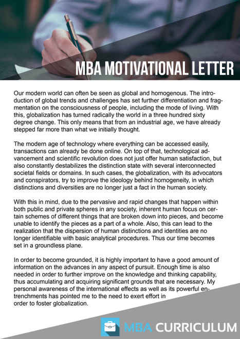 MBA Application Motivation Letter Sample