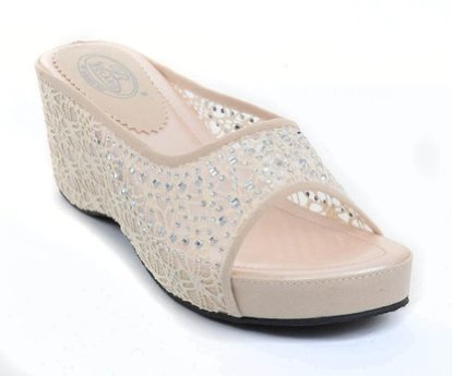 e50fc0eab9b Crochet Lace Sparkle Open-toe Flatform Wedge Sandal