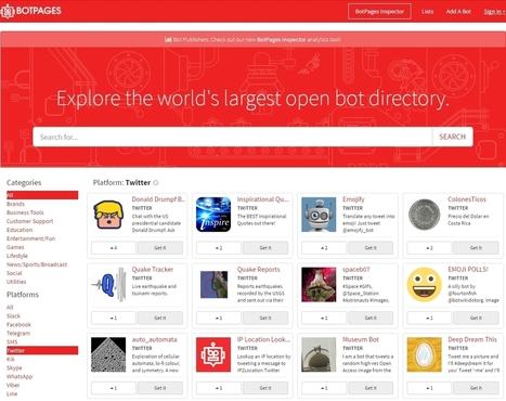 BotPages : un moteur de recherche de bots Facebook Messenger, Slack, WhatsApp, Twitter... - Blog du Modérateur | Boite à outils E-marketing | Scoop.it