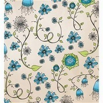 """BlueWhimsical Flowers on Beige Shower Curtain 66"""" x 72"""" (Large) 