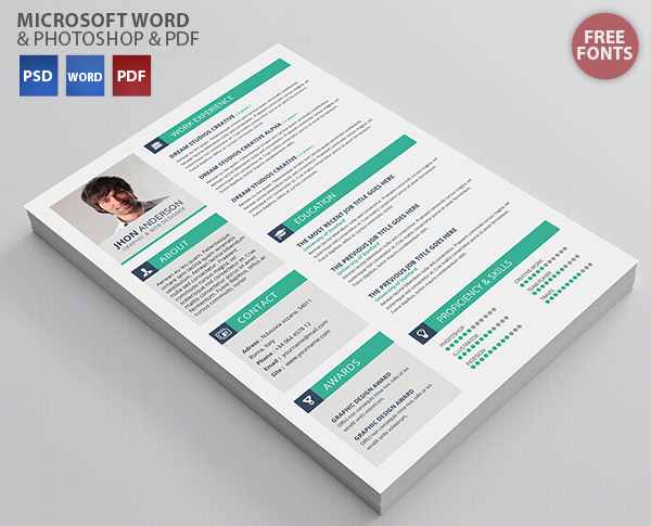 resume template microsoft word and photoshop