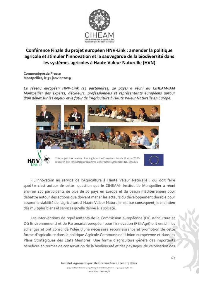 Communiqué de presse : l'Agriculture à Haute Valeur Naturelle - CIHEAM-IAM Montpellier