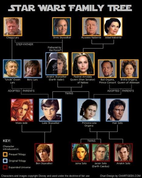 Star Wars. Découvrez l'arbre généalogique des Skywalker   ChartGeek.com   Rhit Genealogie   Scoop.it
