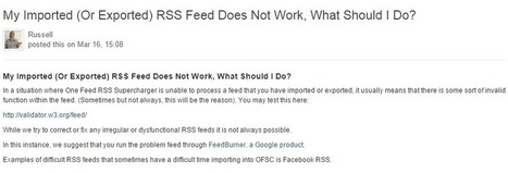 Imported/Exported RSS Troubleshooting - Network Empire Support Desk - | Content Curation Is Not Social Media | Scoop.it