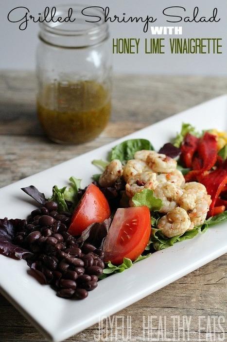 #HEALTHYRECIPE - Grilled Shrimp Salad with Honey Lime Vinaigrette {Healthy Salad} | food&drink | Scoop.it