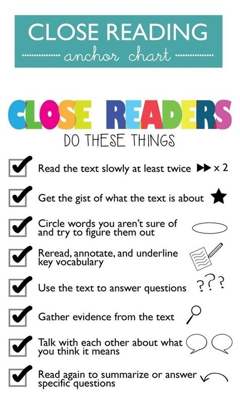 21 Cool Anchor Charts To Teach Close-Reading Skills | Reading for all ages | Scoop.it