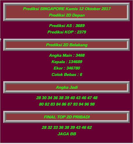Bocoran Togel Singapura Senin 20 November 2017
