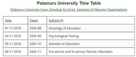 Palamuru University Time Table 2018 -2019 PU De