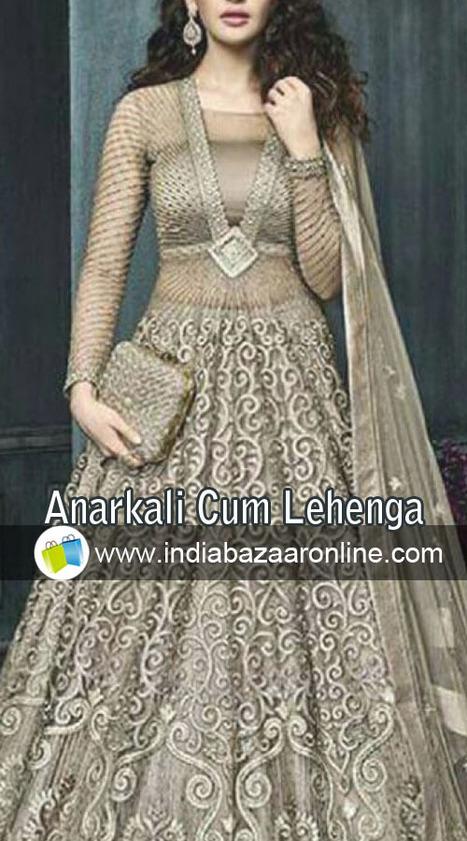85e2a50bdd Grey Net And Georgette Designer Salwar Kameez