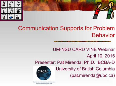 Video of the Week: Communication Supports for Problem Behavior with Dr. Pat Mirenda   AAC: Augmentative and Alternative Communication   Scoop.it