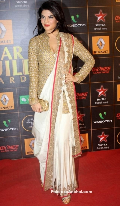 5bb464b79fdf8 Jacqueline Fernandez in Bengali Drape Stlye Double Border Saree with Golden  Long Jacket