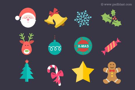 Noël plat Icon Set (PSD) - 365psd | web design | Scoop.it