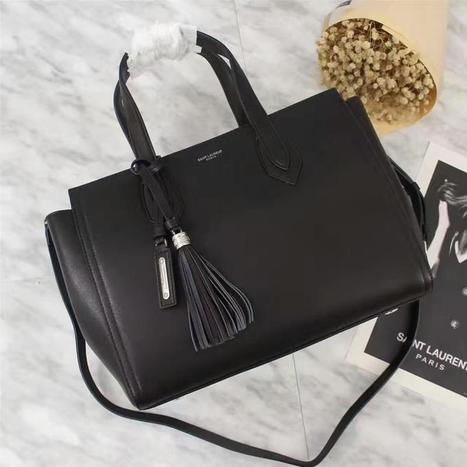 Saint Laurent Medium Amber Tote Bag In Leather Black 6923317aaa