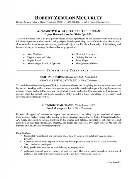 automotive technician job description for resume