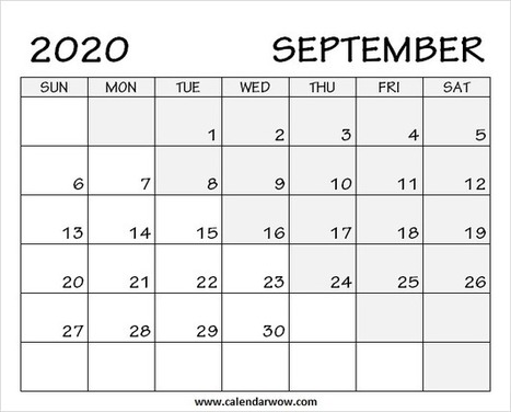 Calendar Sep 2020 Print Blank September 2020 Calendar with N