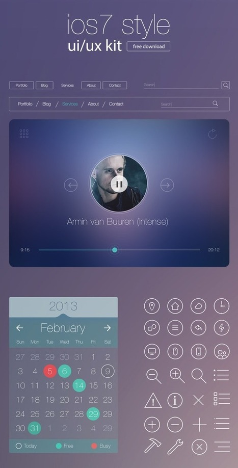 Free iOS7 Style UI/UX Kit for Designers - Freebies - Fribly | le webdesign | Scoop.it
