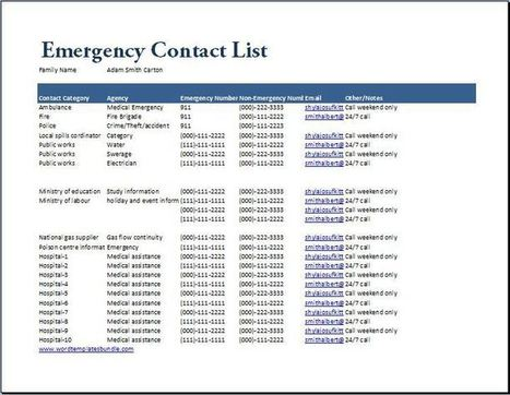 Emergency Contact List Template | Collection Of Microsoft Word U0026 Excel  Templates | Scoop.it