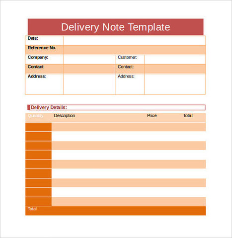 8 delivery note format excel template projec