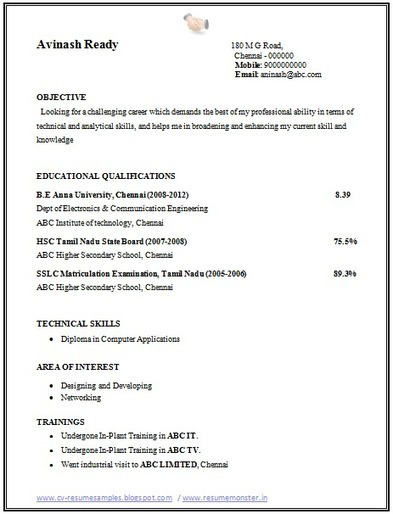 Resume For Ojt Ece Students Sample Professional Format For Fresher