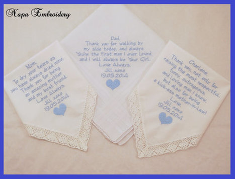 embroidered handkerchiefs wedding ideas wedding gifts for mom dad and mother in law embroidered handkerchiefs personalized embroider by napa embroidery l