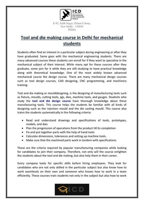 c5437772 Tool and die making course in Delhi for mechanical students | BUSINESS |  Scoop.it