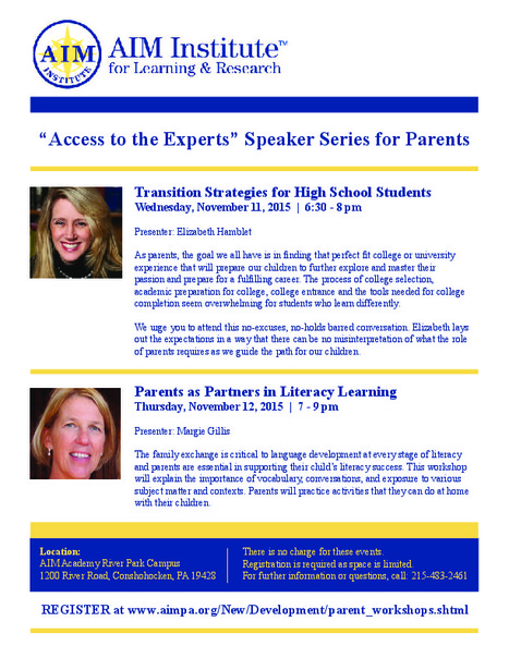 AIM Academy Speaker Series for Parents | The World of Educational Advocacy | Scoop.it