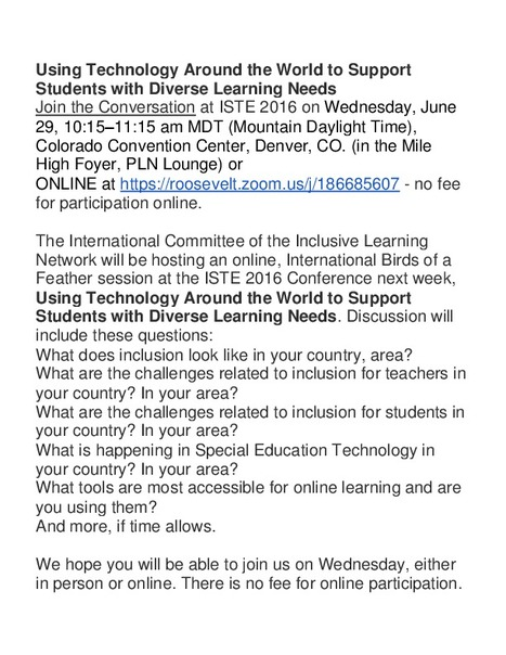 Using Technology Around the World to Support Students with Diverse Learning Needs<br/>Join the Conversation at ISTE 2016 | UDL, mobile learning, and assistive technology | Scoop.it