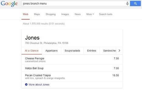Google indique des menus de restaurants dans ses résultats - Actualité Abondance   Aube en Champagne   Scoop.it