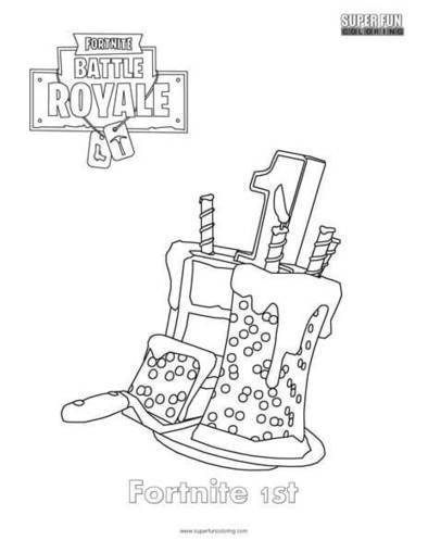 fortnite 1st birthday cake coloring page colo