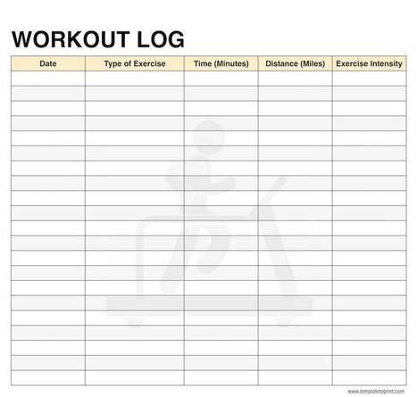 Workout Log Book Printable Template Pdf Daily