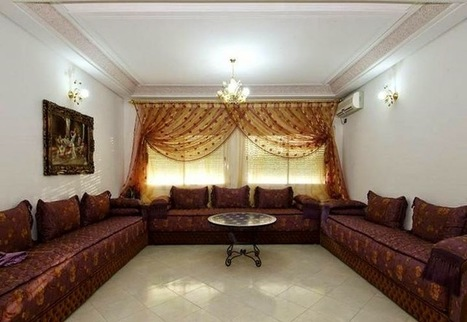 Salon marocain style moderne tissus bahja | Sal...
