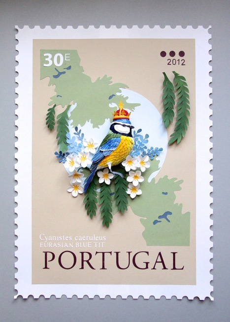 New #Paper #Bird #Sculptures Juxtaposed With International #Stamps by Diana Beltran Herrera. #art | Luby Art | Scoop.it