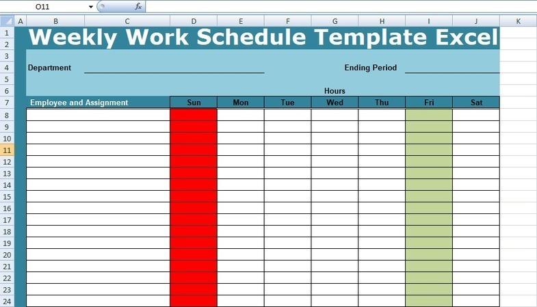 Get Weekly Work Schedule Template Excel Proje
