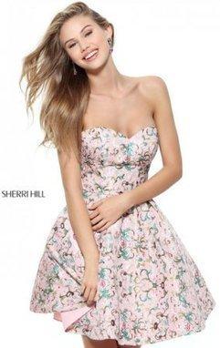 e19b91bb45 2017 Sherri Hill 50799 Pink Sweetheart Neck Pattern Print Short A Line Homecoming  Dresses  Sherri Hill 50799 Pink  -  220.00   2016 Prom Dress Outlet Shop ...