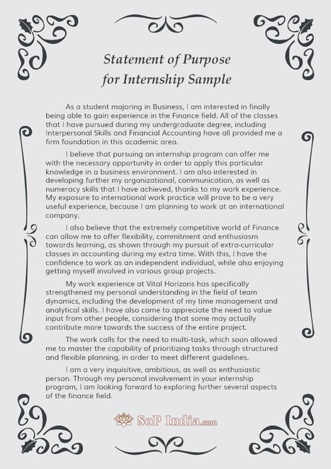 Statement Of Purpose For Internship Sample  So