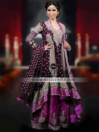 Shop Pakistani Wedding Lehenga Online For Bride Magnanimous U Neck Palatinate Purple Bridal Shirt Has Full Sleeves And High Low Hem Comes With Red Violet