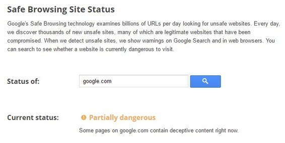 Google com is dangerous website warns Google sa