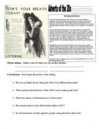 20s & 30s Worksheets - The Roaring Twenties...